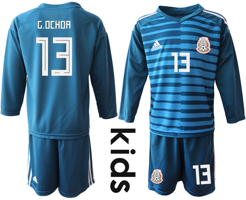 Mexico 13 G.OCHOA Blue Youth 2018 FIFA World Cup Long Sleeve Goalkeeper Soccer Jersey