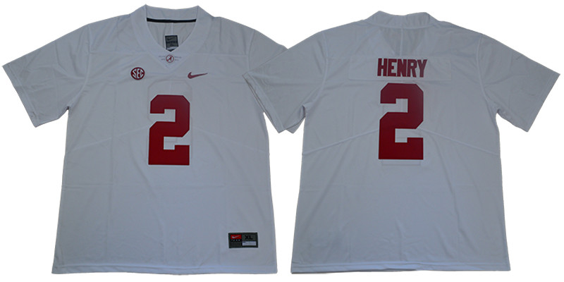 Alabama Crimson Tide 2 Derrick Henry White Nike College Football Jersey
