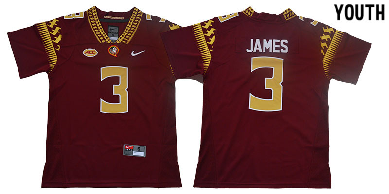 Florida State Seminoles 3 Derwin James Red Youth College Football Jersey