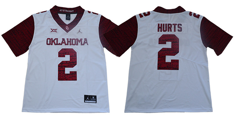Oklahoma Sooners 2 Jalen Hurts White 47 Game Winning Streak College Football Jersey