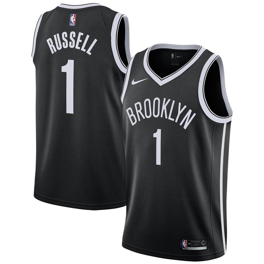 Nets 1 D'Angelo Russell Black Nike Swingman Jersey