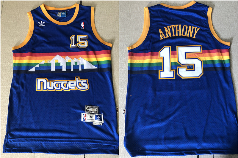 Nuggets 15 Carmelo Anthony Blue Hardwood Classics Jersey
