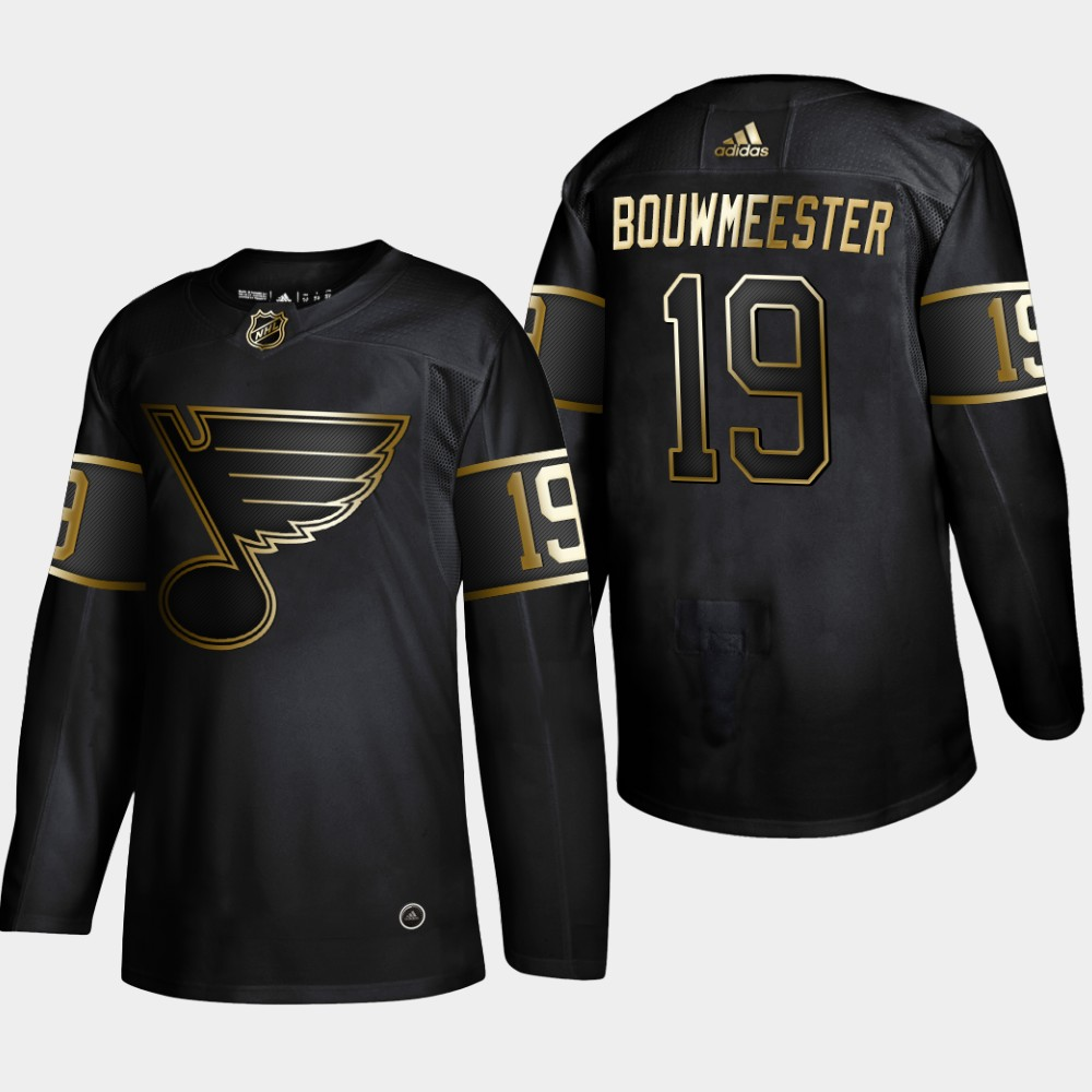Blues 19 Jay Bouwmeester Black Gold Adidas Jersey