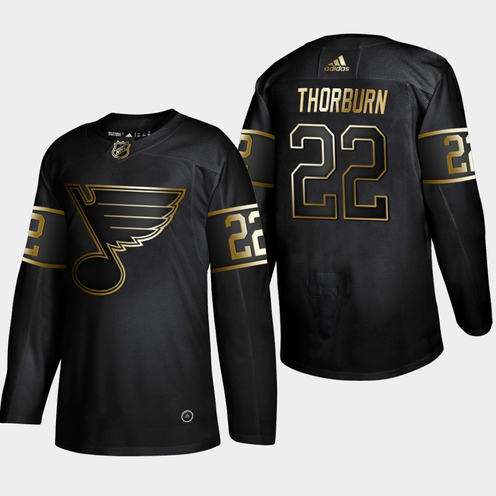 Blues 22 Chris Thorburn Black Gold Adidas Jersey
