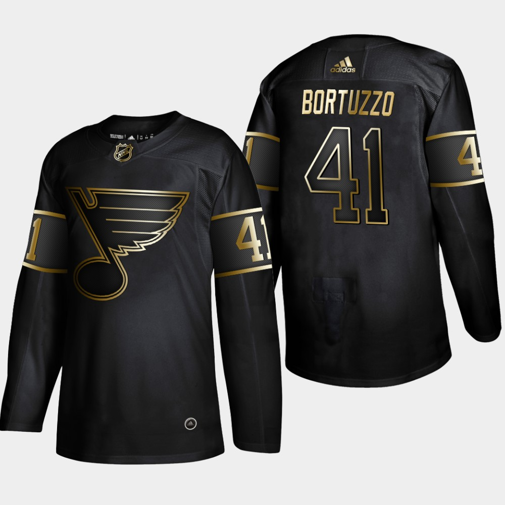 Blues 41 Robert Bortuzzo Black Gold Adidas Jersey