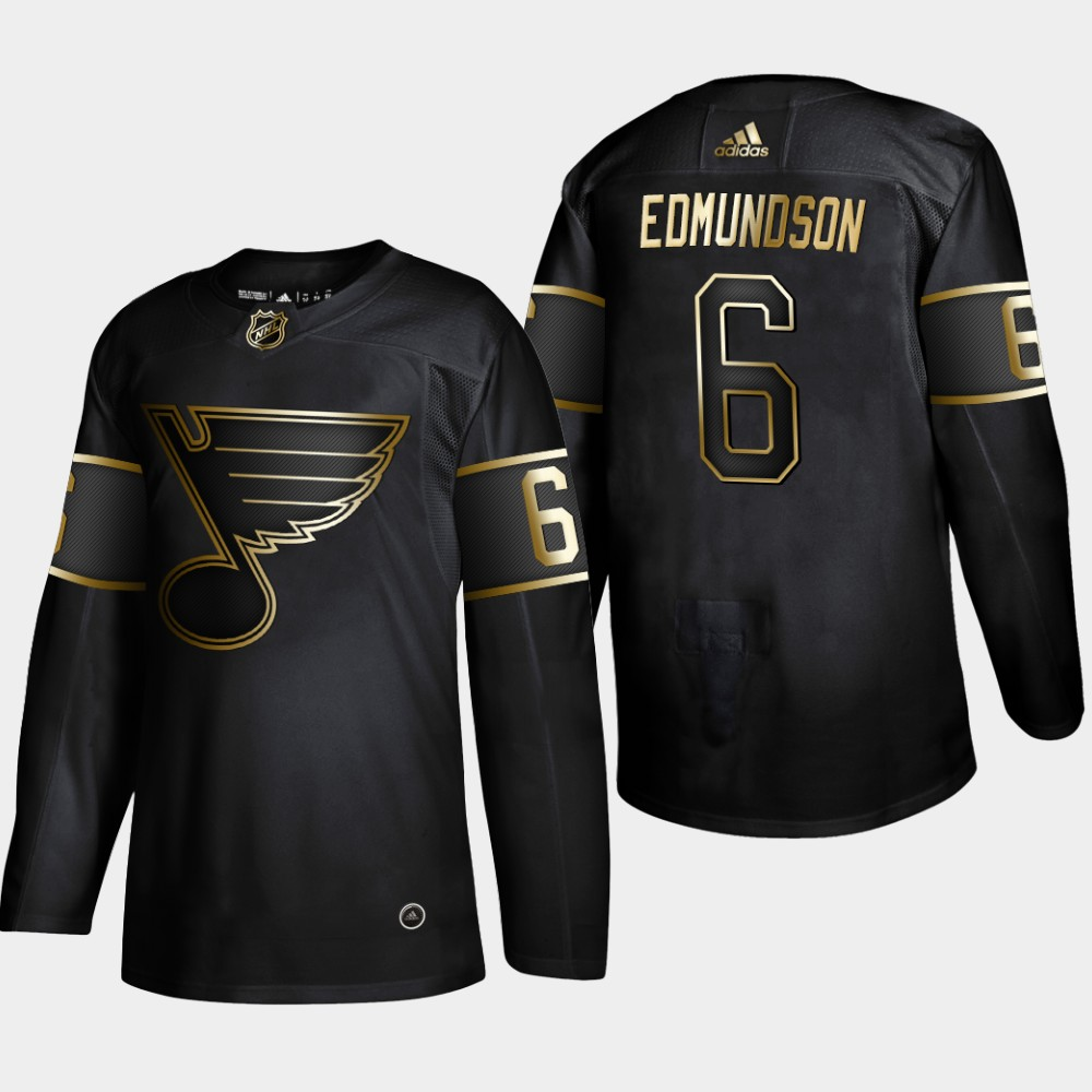 Blues 6 Joel Edmundson Black Gold Adidas Jersey