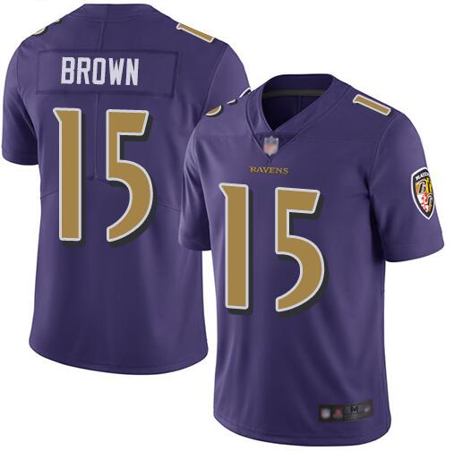 Nike Ravens 15 Marquise Brown Purple Youth Color Rush Limited Jersey