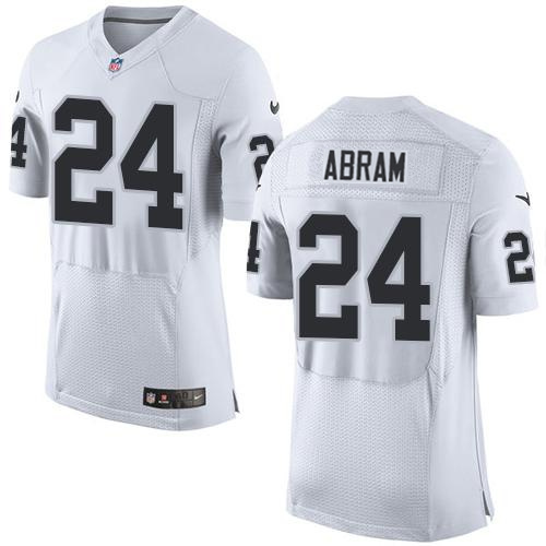 Nike Raiders 24 Johnathan Abram White Elite Jersey