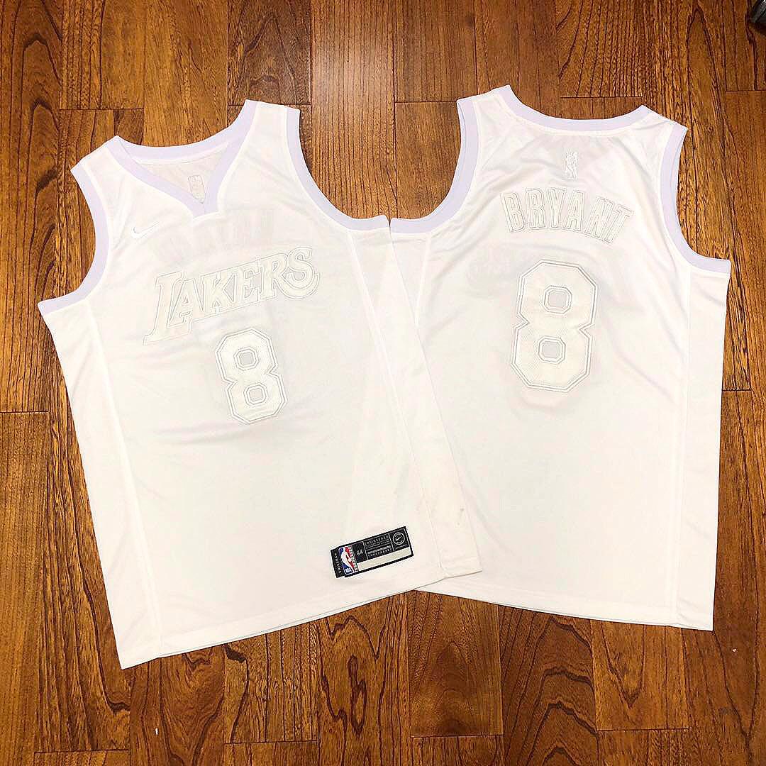 Lakers 8 Kobe Bryant White Nike AF 100 Commemorative Swingman Jersey