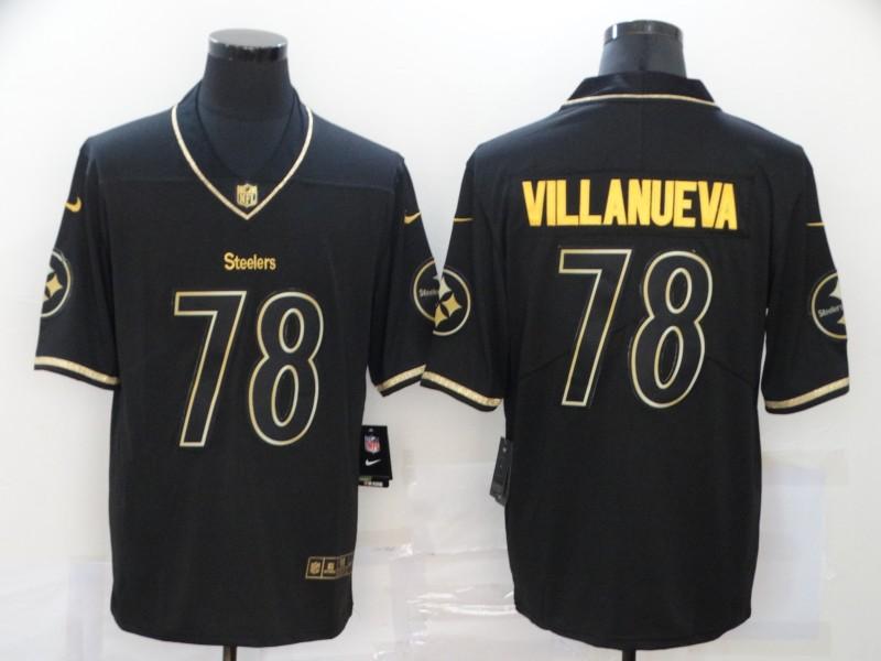 Nike Steelers 78 Alejandro Villanueva Black Gold Vapor Untouchable Limited Jersey