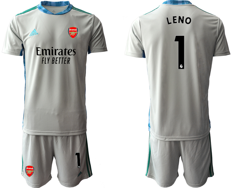 2020-21 Arsenal 1 LENO Gray Goalkeeper Soccer Jersey