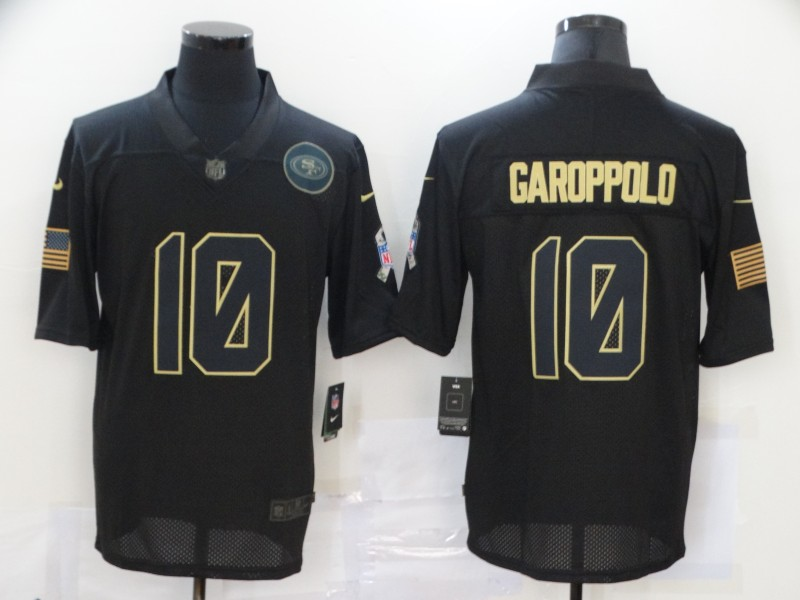 Nike 49ers 10 Jimmy Garoppolo Black 2020 Salute To Service Limited Jersey