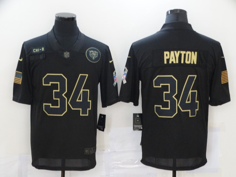 Nike Bears 34 Walter Payton Black 2020 Salute To Service Limited Jersey