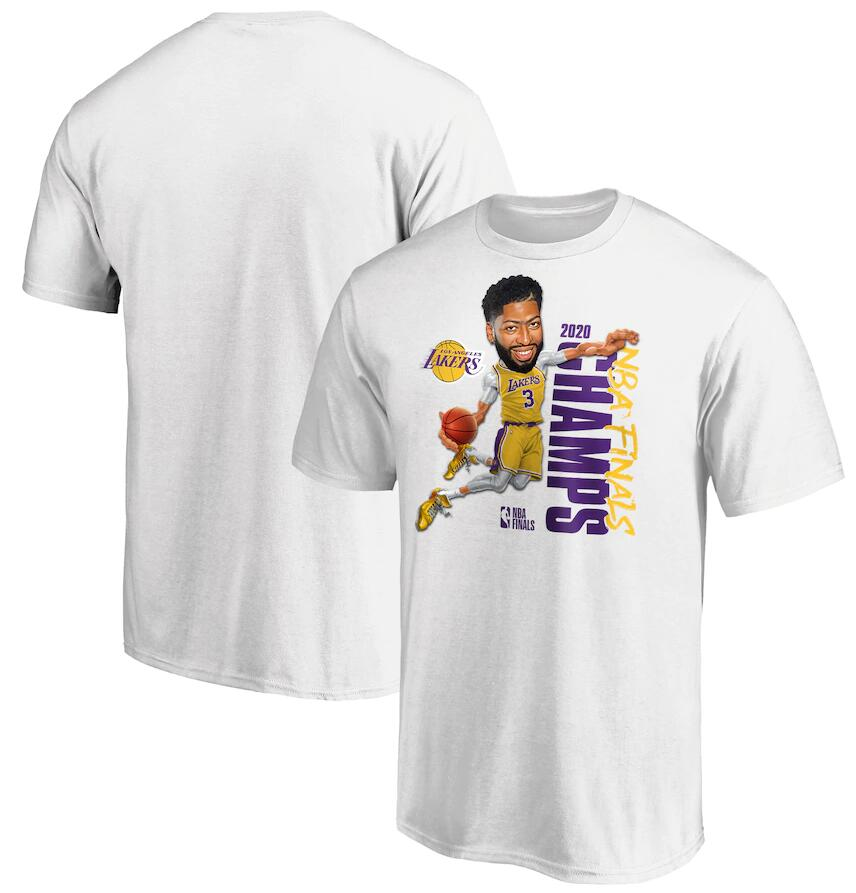 Men's Los Angeles Lakers 3 Anthony Davis White 2020 NBA Finals Champions Vertical Player T-Shirt