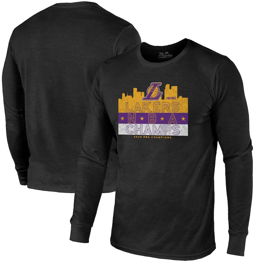 Men's Los Angeles Lakers Black 2020 NBA Finals Champions Tri Blend Long Sleeve T-Shirt