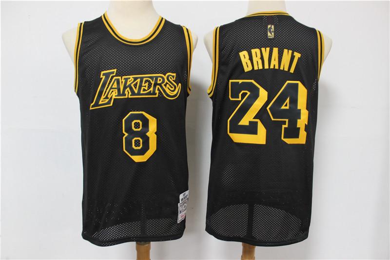 Lakers 8 & 24 Kobe Bryant Black 2020 Hardwood Classics Mesh Jersey