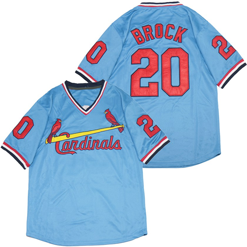 Cardinals 20 Lou Brock Blue Throwback Jersey