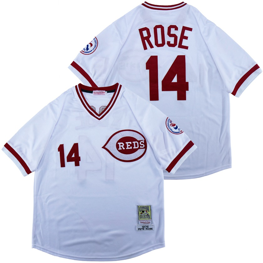 Reds 14 Pete Rose White 1976 Throwback Jersey