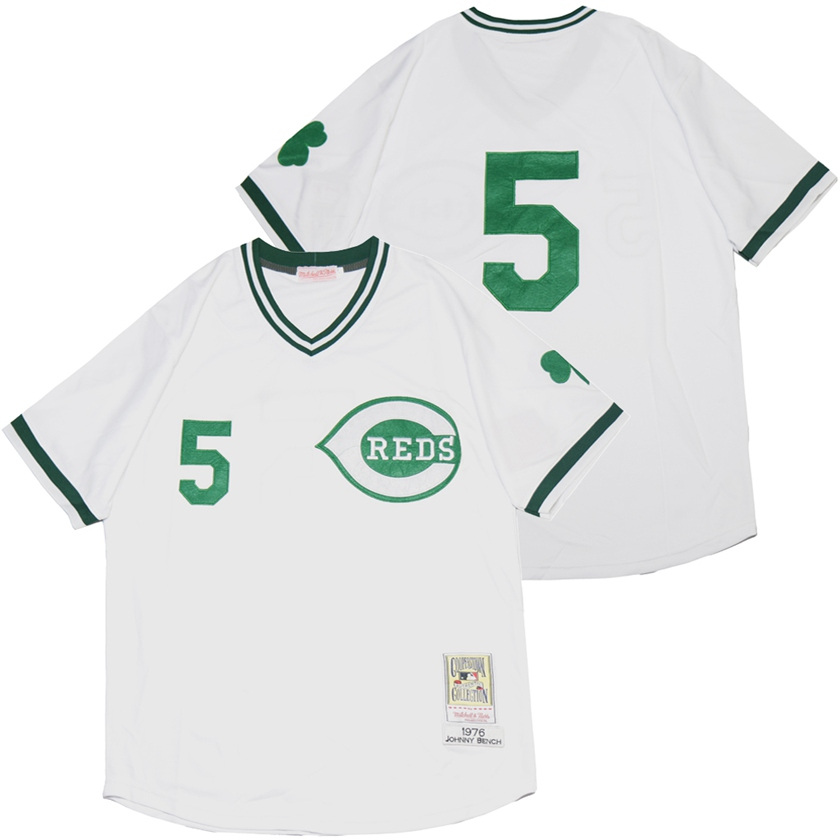 Reds 5 Johnny Bench White St. Patrick's Day Jersey