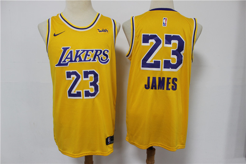 Lakers 23 Lebron James Yellow Nike Swingman Jersey