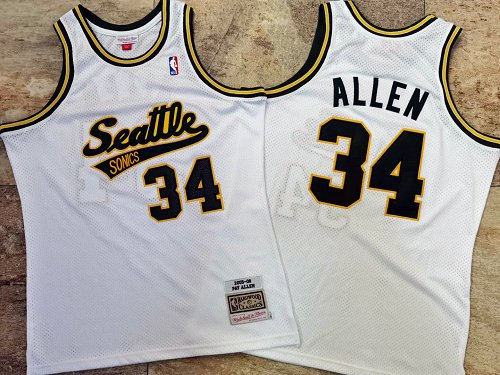 Supersonics 34 Pay Allen White 2005-06 Hardwood Classics Jersey