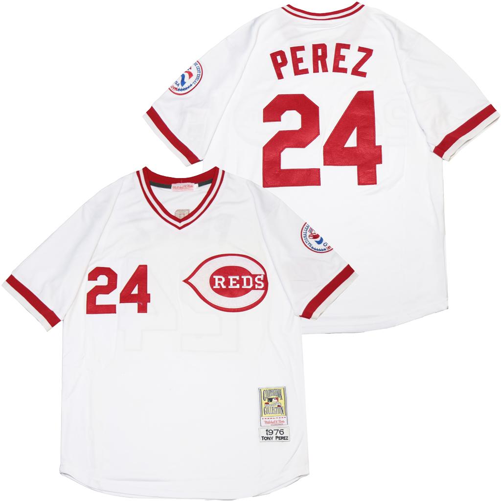 Reds 24 Tony Perez White 1976 Throwback Jersey