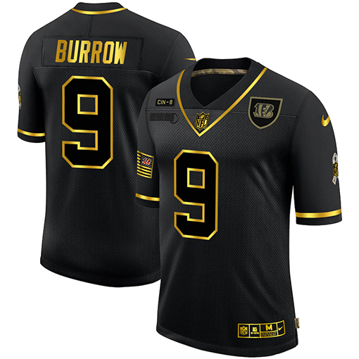 Nike Bengals 9 Joe Burrow Black Gold 2020 Salute To Service Limited Jersey