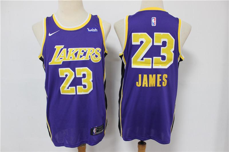 Lakers 23 Lebron James Purple Nike Swingman Jersey