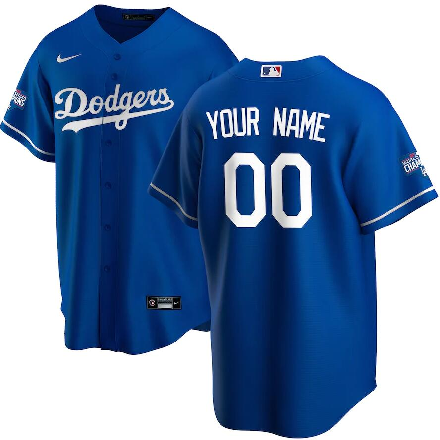Dodgers Customized Royal Nike 2020 World Series Champions Cool Base Jersey