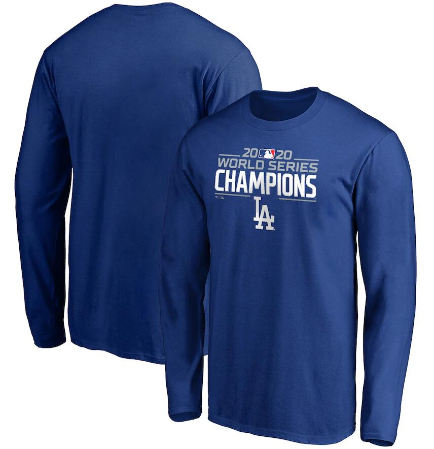 Men's Los Angeles Dodgers Fanatics Branded Royal 2020 World Series Champions Logo Long Sleeve T-Shirt