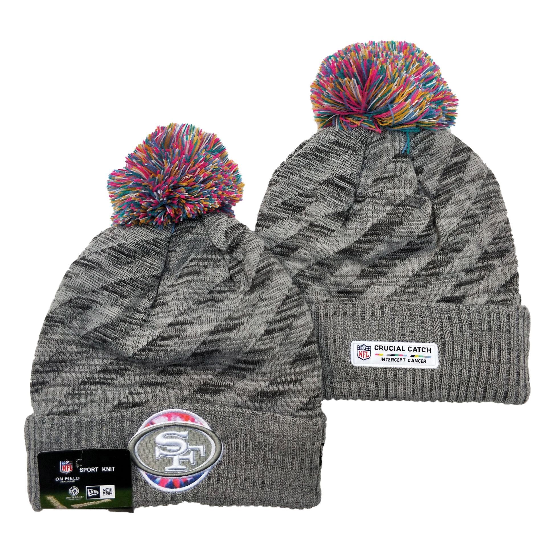 49ers Team Logo Gray 2020 NFL Crucial Catch Sport Pom Cuffed Knit Hat YD