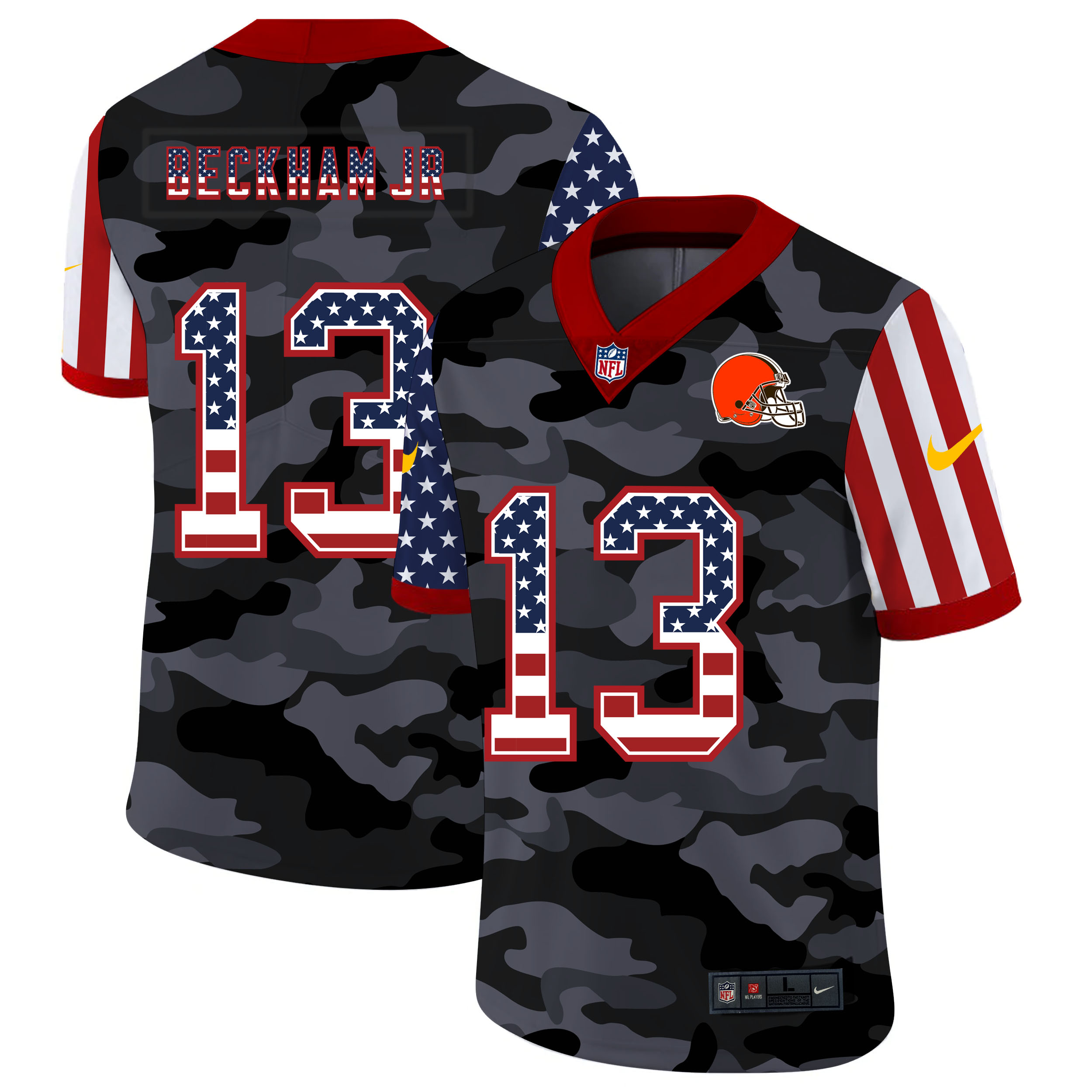 Nike Browns 13 Odell Beckham Jr. Camo 2020 USA Flag Salute to Service Limited Jersey