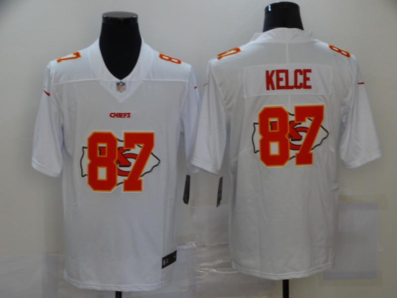 Nike Chiefs 87 Travis Kelce White Shadow Logo Limited Jersey