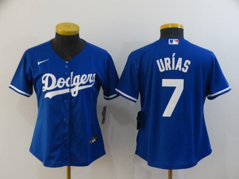 Dodgers 7 Julio Urias Royal Women 2020 Nike Cool Base Jersey