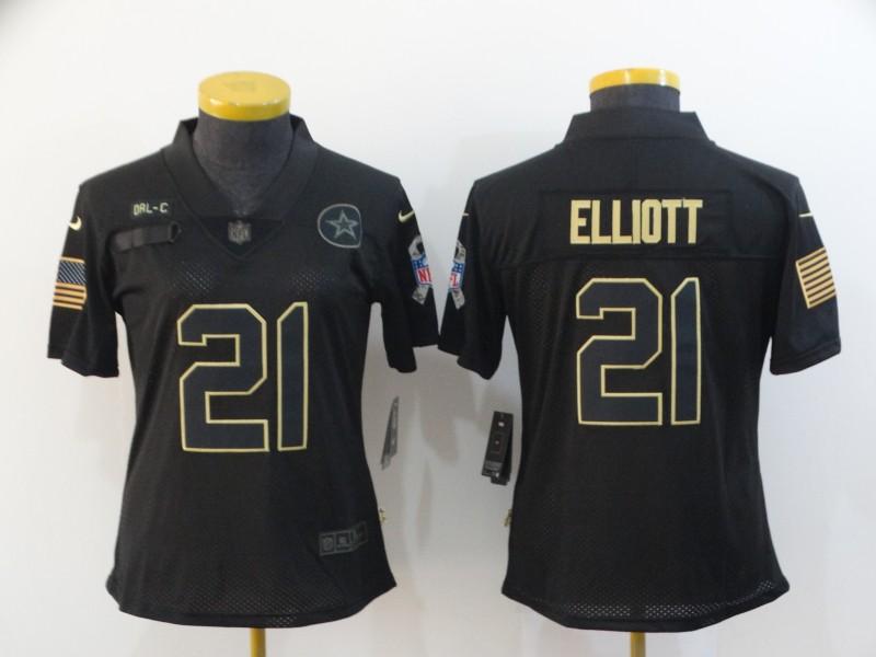 Nike Cowboys 21 Ezekiel Elliott Black Women 2020 Salute To Service Limited Jersey
