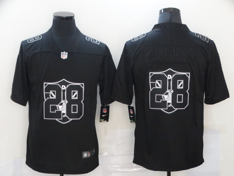 Nike Raiders 28 Josh Jacobs Black Shadow Logo Limited Jersey