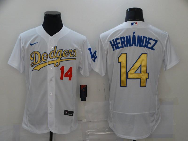 Dodgers 14 Enrique Hernandez White Gold 2020 Nike Flexbase Jersey
