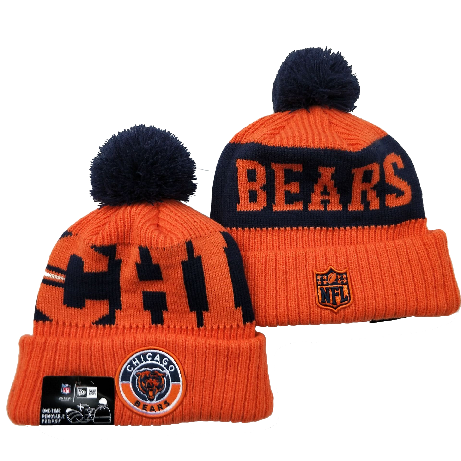 Bears Team Logo Orange 2020 NFL Sideline Pom Cuffed Knit Hat YD