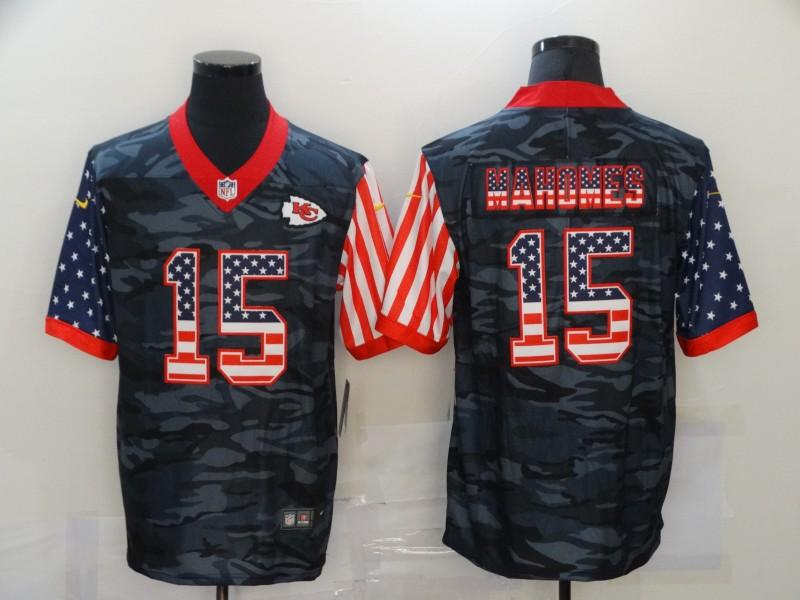 Nike Chiefs 15 Patrick Mahomes Black Camo USA Flag Limited Jersey