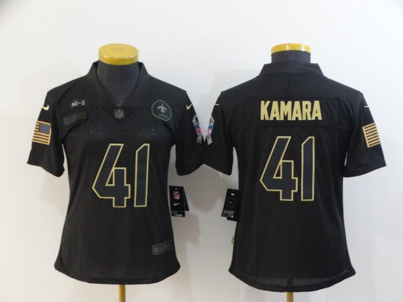 Nike Saints 41 Alvin Kamara Black Women 2020 Salute To Service Limited Jersey
