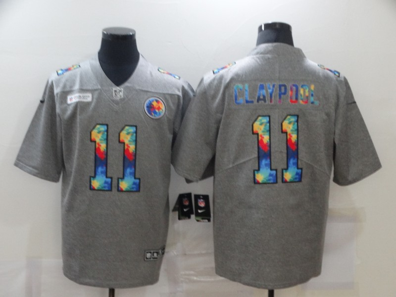 Nike Steelers 11 Chase Claypool Gray Vapor Untouchable Rainbow Limited Jersey