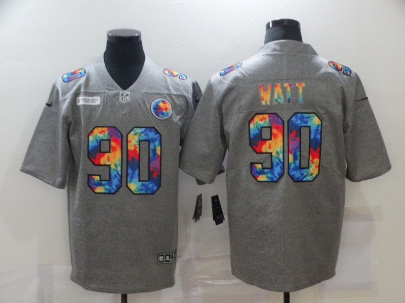 Nike Steelers 90 T.J. Watt Gray Vapor Untouchable Rainbow Limited Jersey