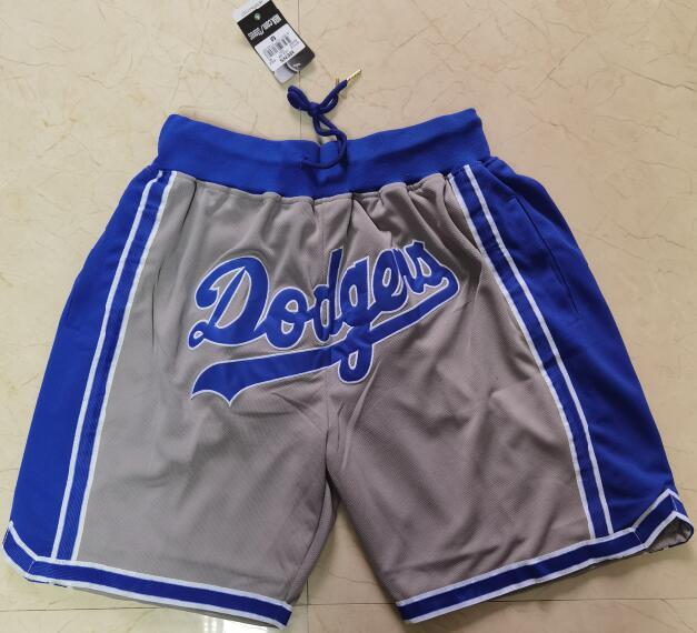 Men's Los Angeles Dodgers Team Logo Gray Pocket Baseball Shorts