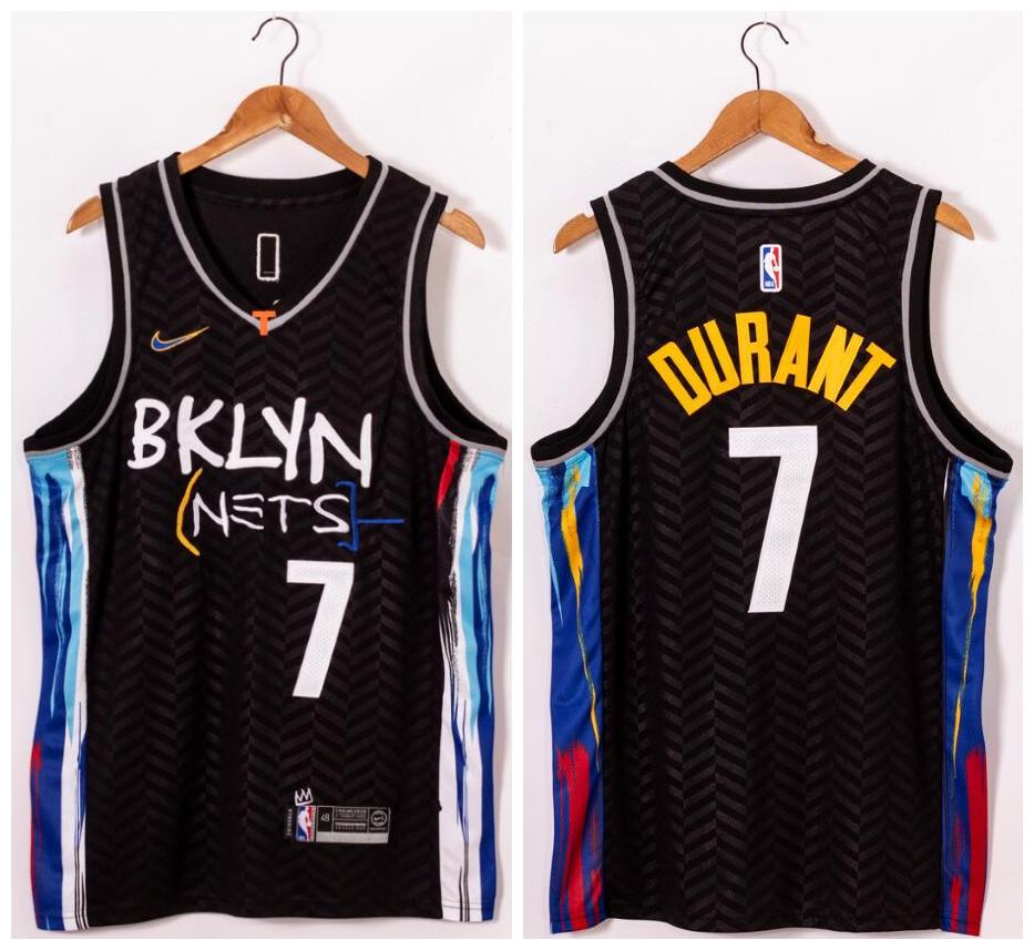 Nets 7 Kevin Durant Black 2021 Nike Swingman Jersey