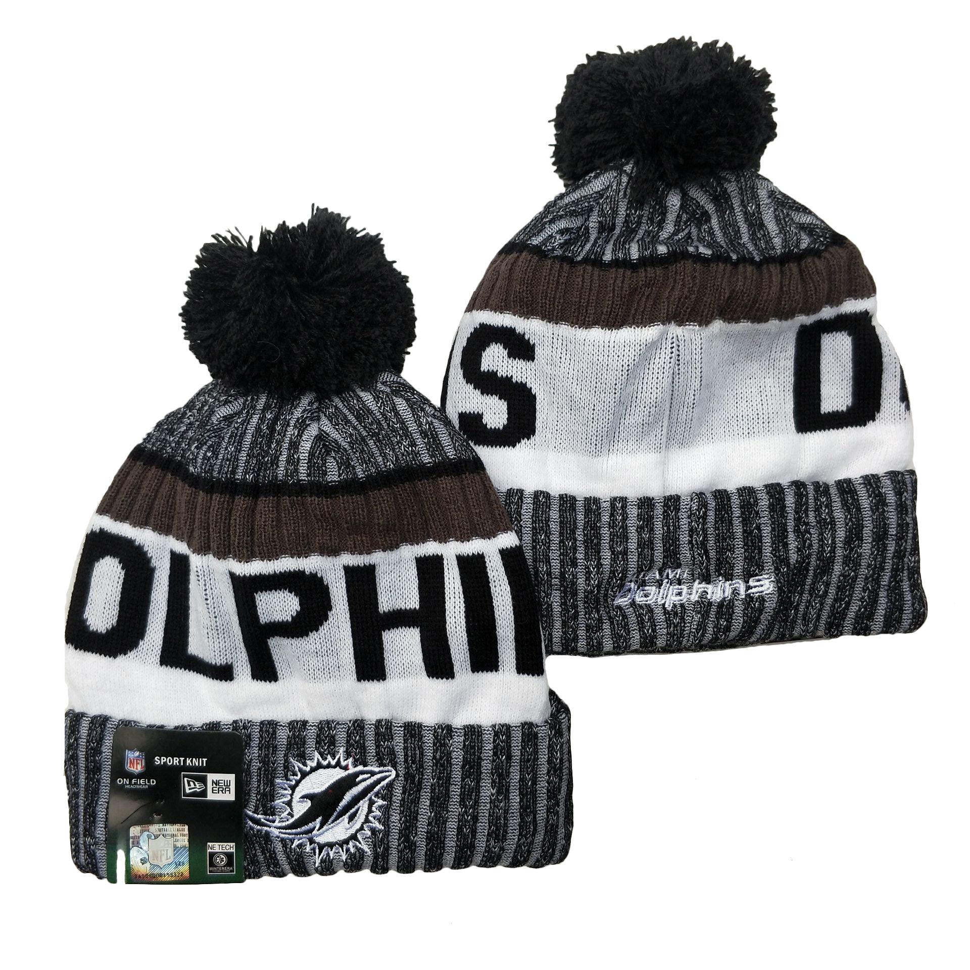 Dolphins Team Logo Gray Black White Pom Cuffed Knit Hat YD