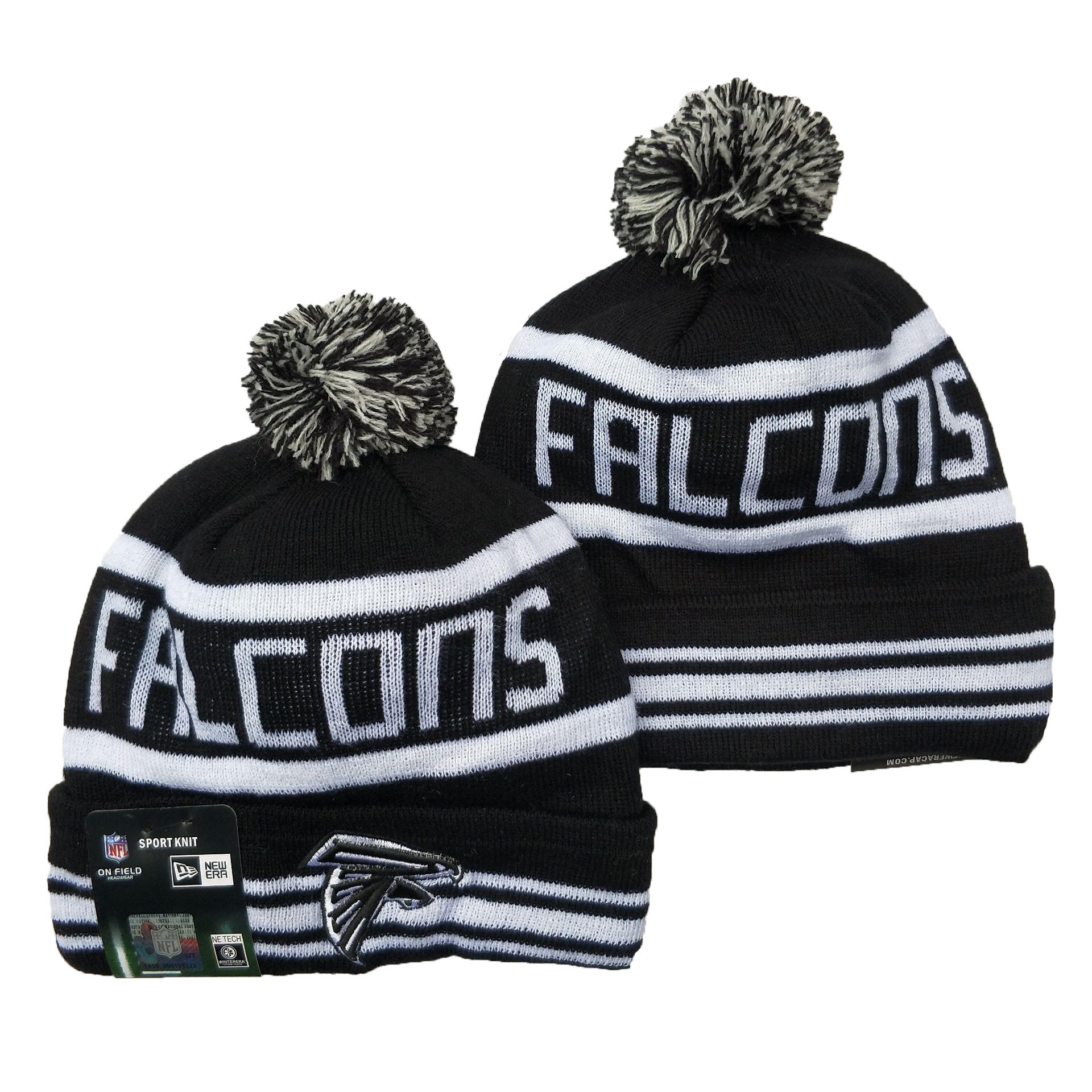 Falcons Team Logo Black Pom Cuffed Knit Hat YD