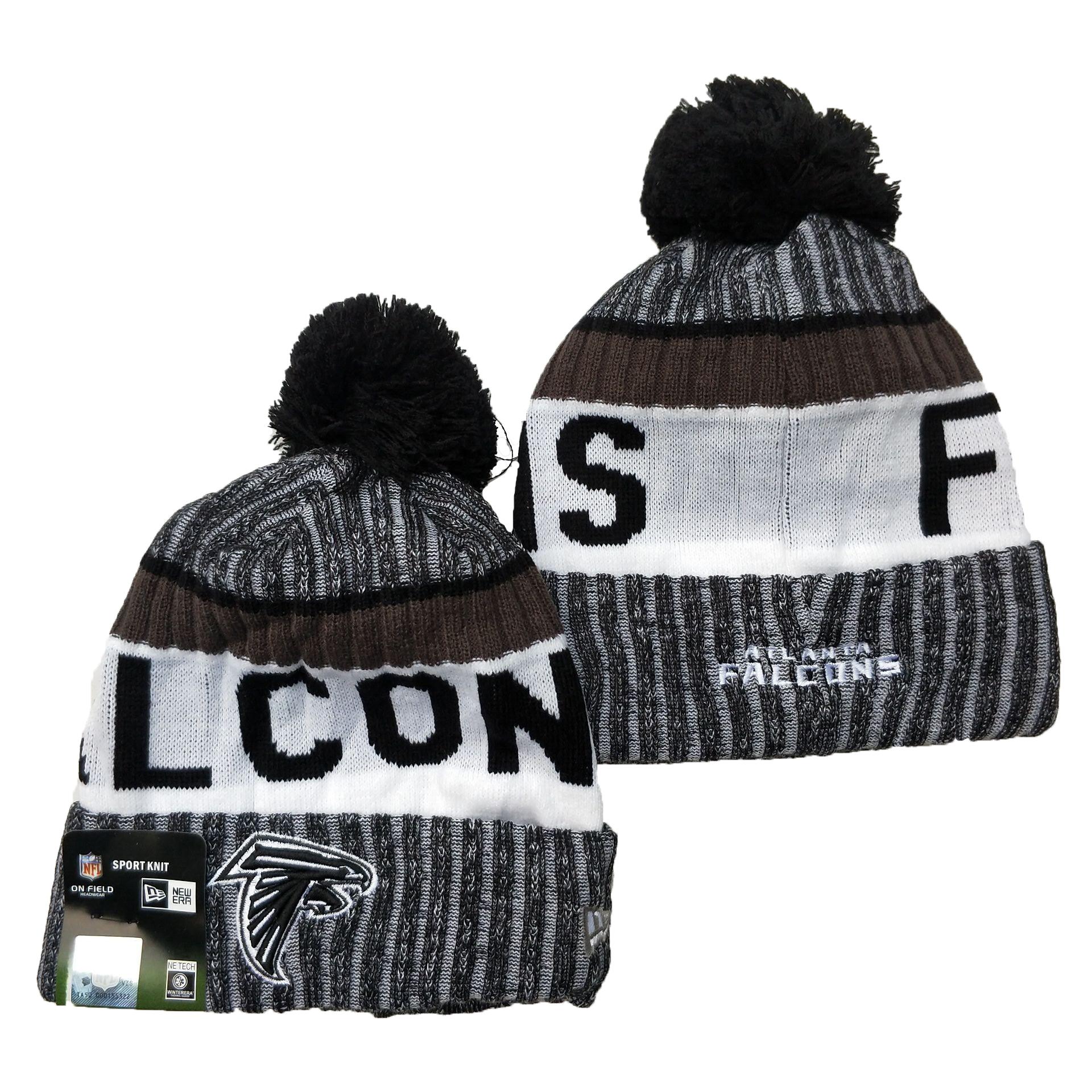 Falcons Team Logo Gray Black White Pom Cuffed Knit Hat YD