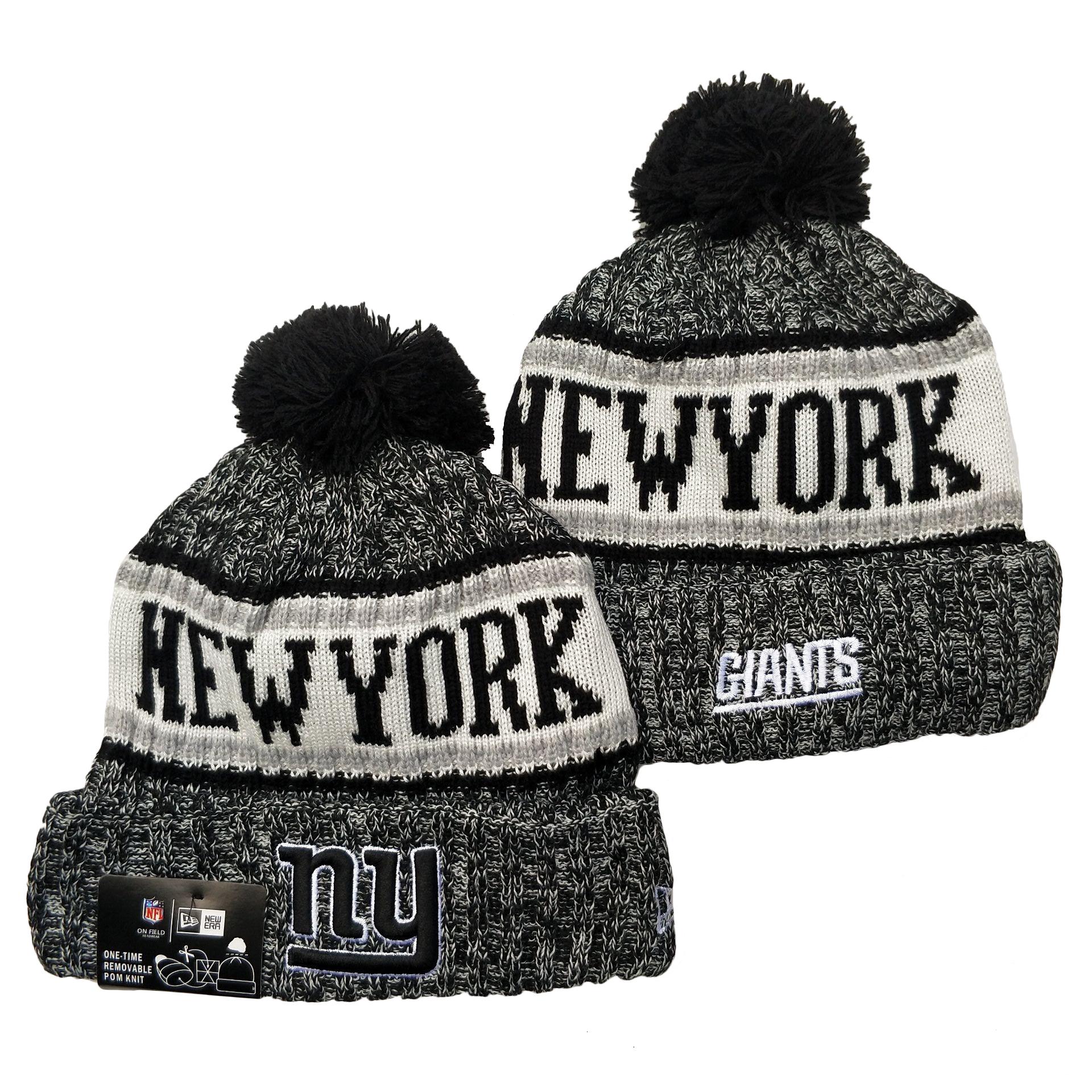 New York Giants Team Logo Gray Pom Cuffed Knit Hat YD