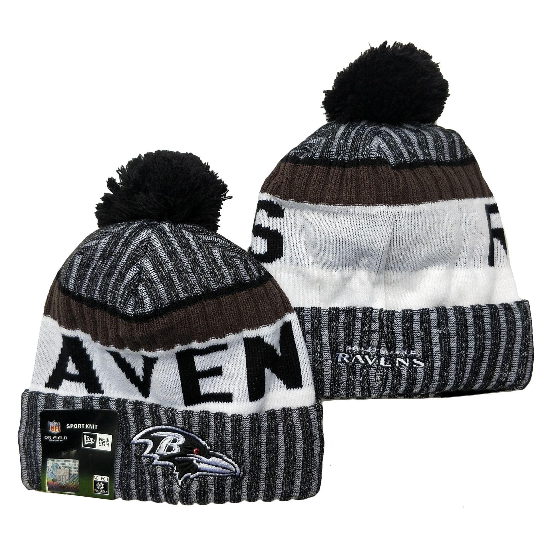 Ravens Team Logo Gray Black White Pom Cuffed Knit Hat YD