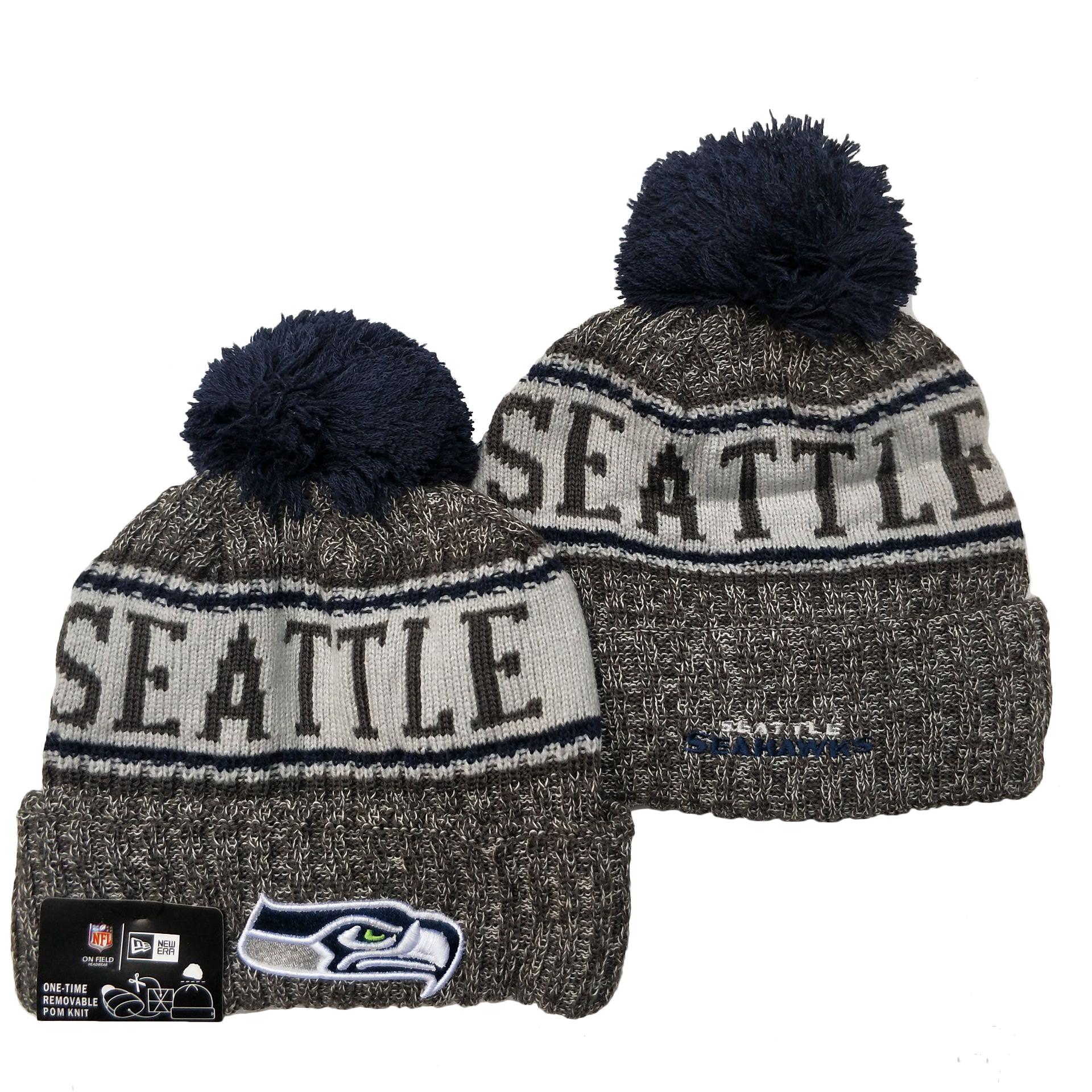 Seahawks Team Logo Gray Pom Cuffed Knit Hat YD